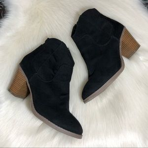 Old Navy Black Suede Ankle Boots